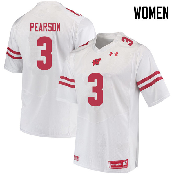 Women #3 Reggie Pearson Wisconsin Badgers College Football Jerseys Sale-White